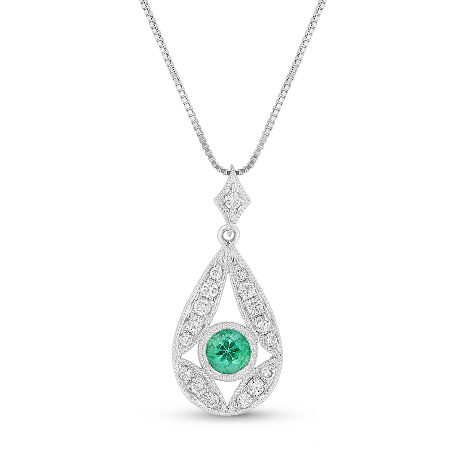 View Emerald and Diamond Pendant in 14k White Gold