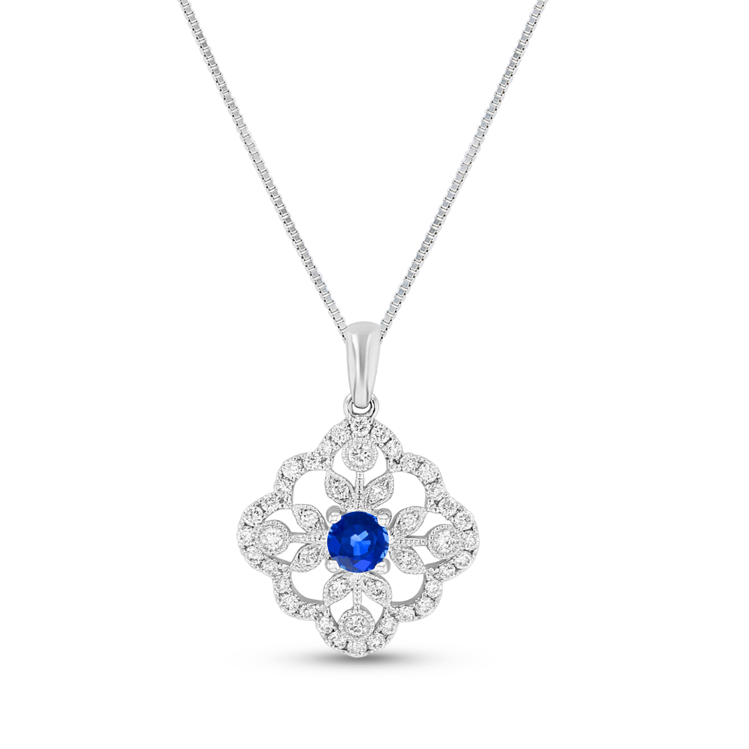 View Diamond and sapphire Pendant in 14k White gold
