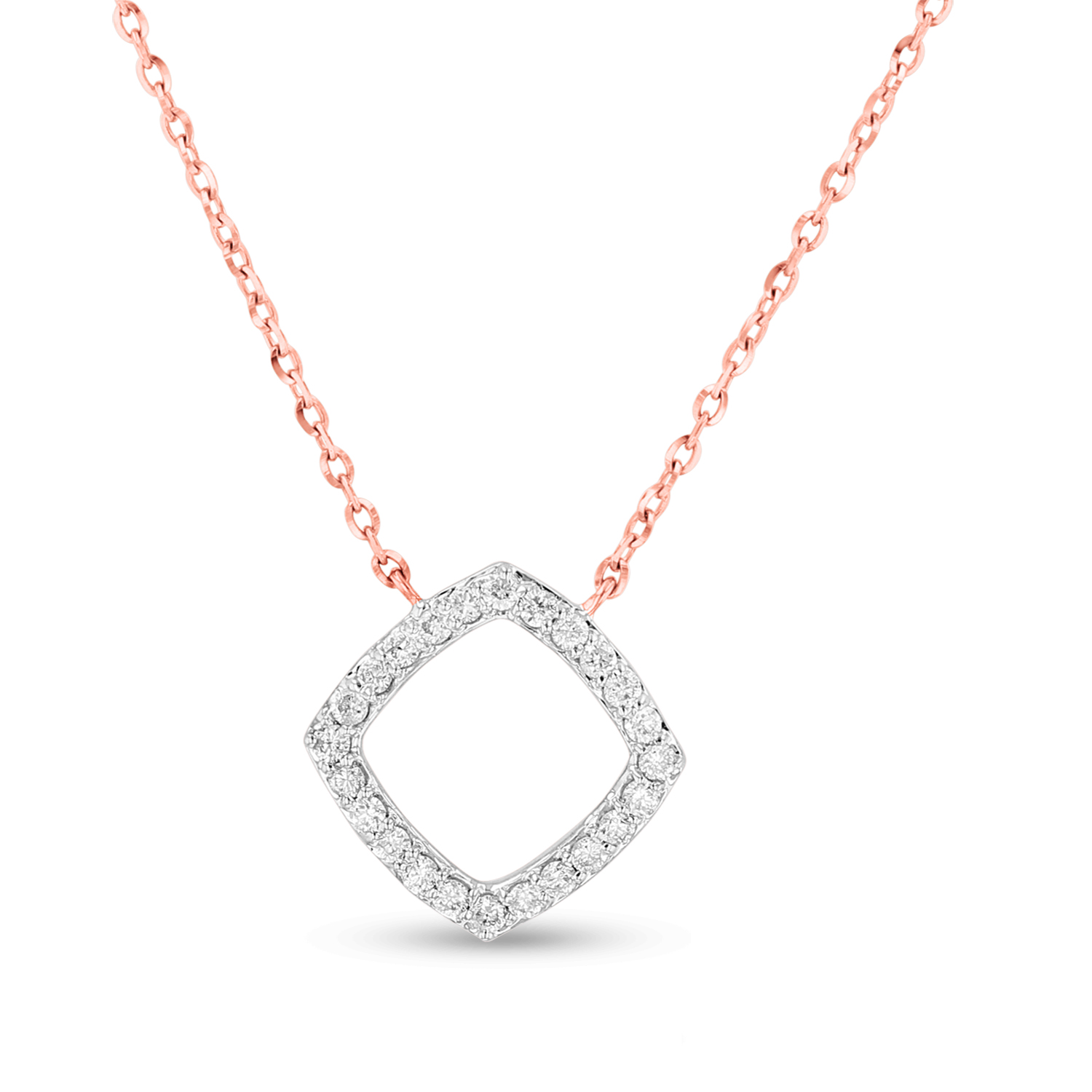 View 0.15ctw Diamond Clover Pendant in 14k Rose Gold