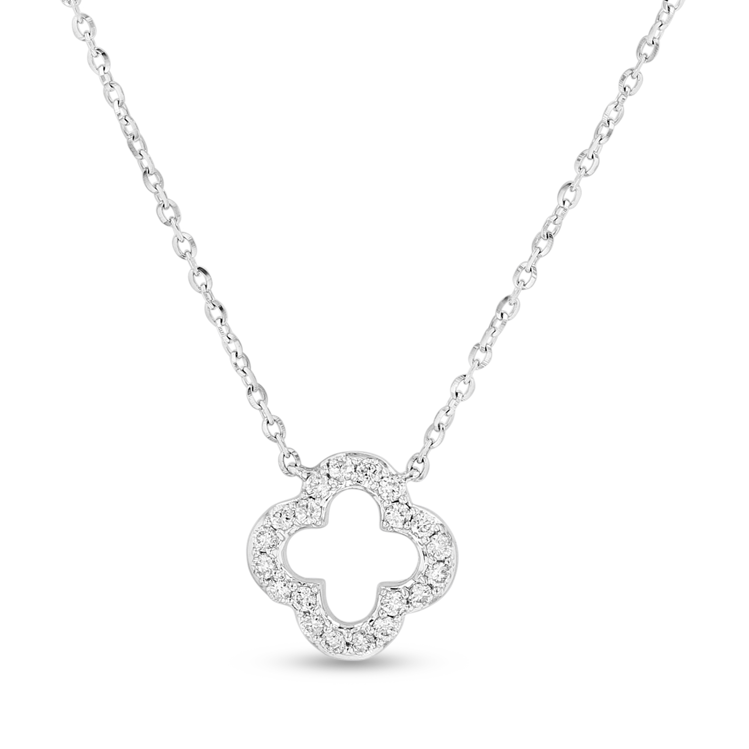 View 0.12ctw Diamond Clover Shaped Pendant in 14k White Gold