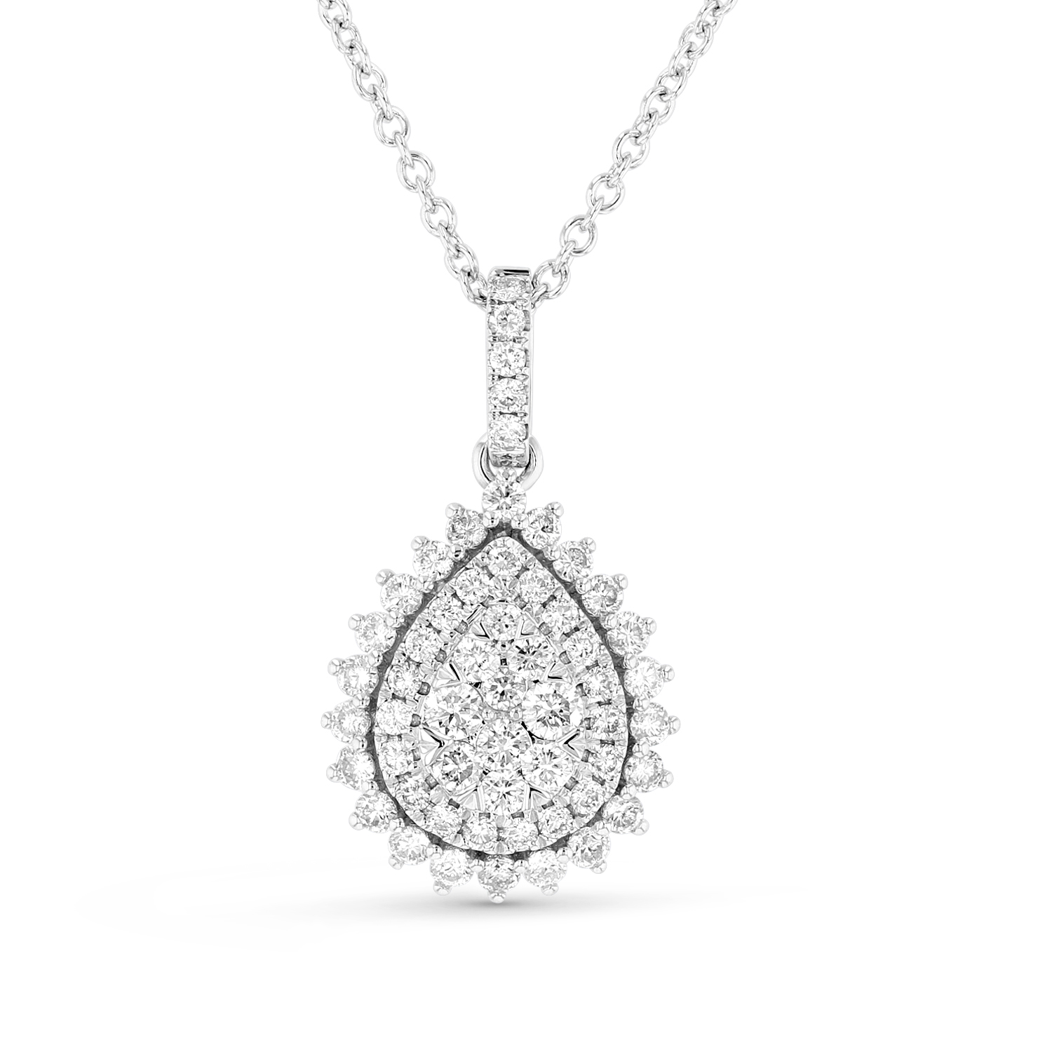 View 1.05ctw Diamond Pear Shaped Pendant in 18k White Gold
