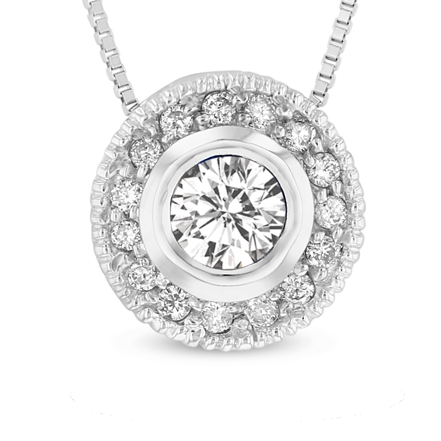 View 14k Gold Pendant with 0.30ct of diamonds. 16 inch Cable chain included