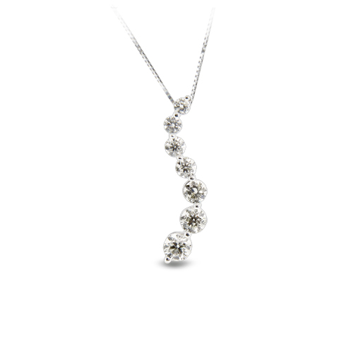 View 1.00ct tw Diamond 14k Gold Journey Pendant IJ-SI quality Chain Included