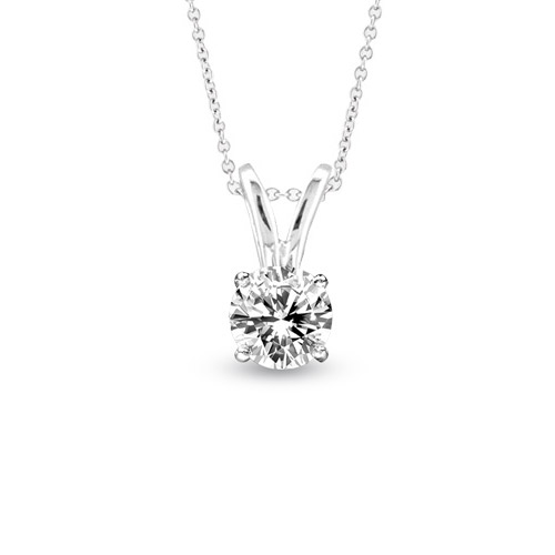 View 0.25ct Solitaire Pendant Set in 14k Gold I-I Quality Round Diamond