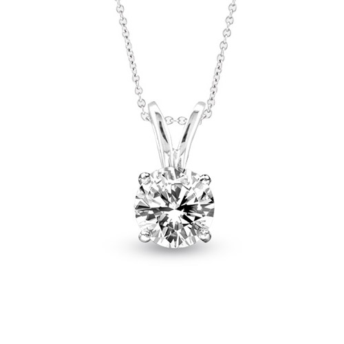 View 0.50ct Solitaire Pendant Set in 14k Gold I-I Quality Round Diamond