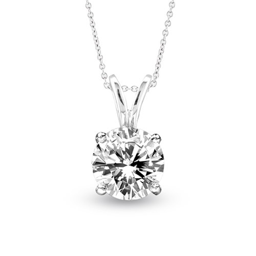 View 0.75ct Solitaire Pendant Set in 14k Gold GH-SI Quality Round Diamond