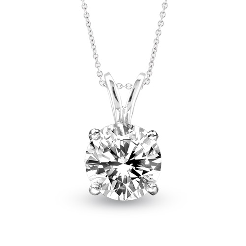 View 1.00ct Solitaire Pendant Set in 14k Gold I-I Quality Round Diamond