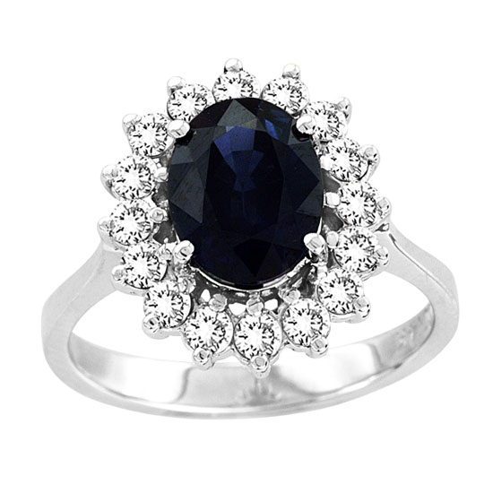 View 2.75ct tw Natural Sapphire & Diamond Ring 9X7mm 2.15 Carat Oval Sapphire Center Stone 14k Gold Royal Collection