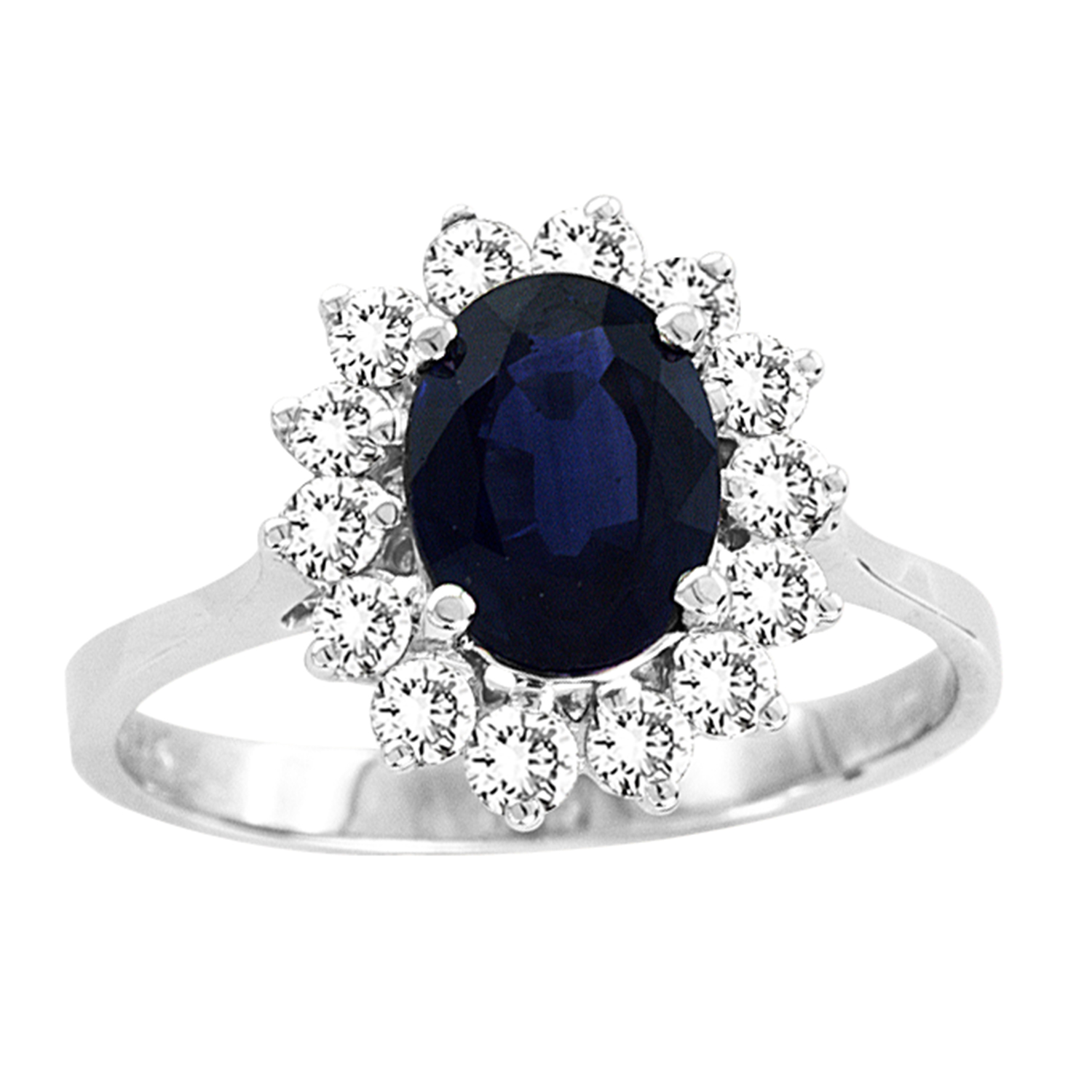 View 1.75ct tw Natural Sapphire & Diamond Ring 8x6mm 1.35 Carat Oval Sapphire Center Stone 14k Gold Royal Collection