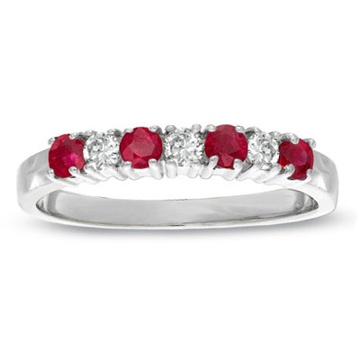View 0.37cttw Natural Heated Ruby and Diamond Band set in 14k Gold
