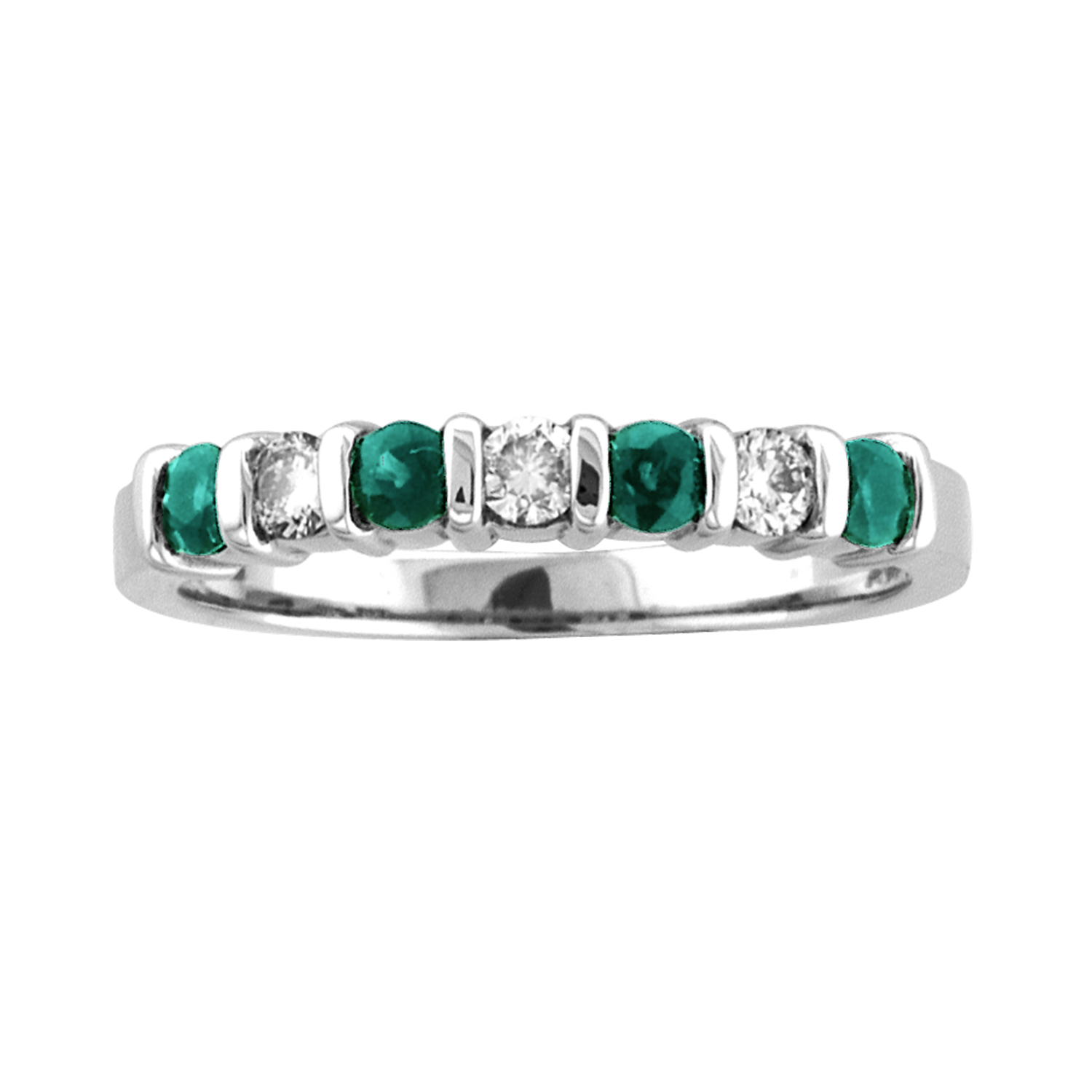 View 14k Gold Ring 0.27ct tw  Round Diamonds and Emeralds Bar Set Band Wedding or Anniversary Ring