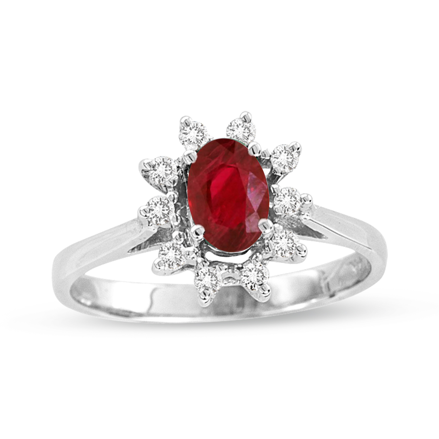 0.65ct tw Natural Heated Oval Ruby and Diamond Ring in 14k Gold