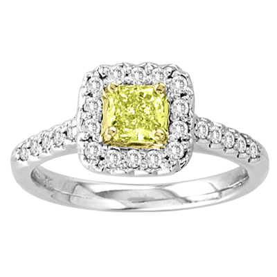 View 0.80ct tw Square Natural Fancy Yellow & Round Diamonds Fashion Antique Looking Engagement Ring 18k Gold