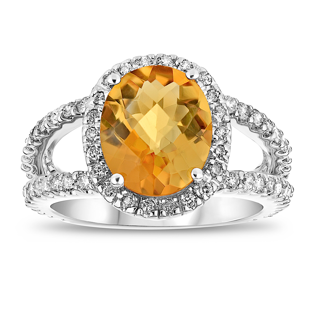View 3.60ctw Citrine and Diamond Split Shank Ring in 14k Gold