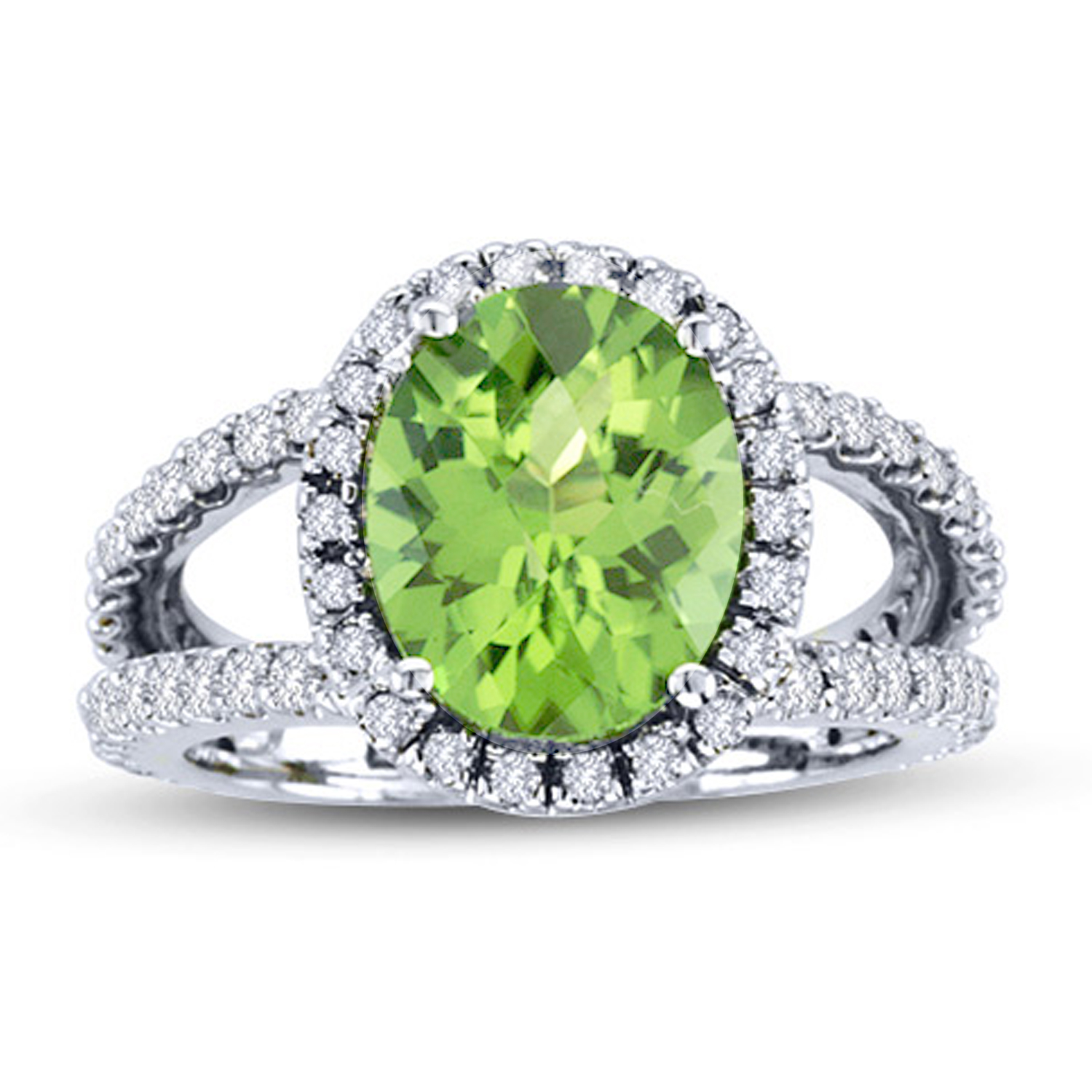 View 14k Gold Split Shank Ring with 0.85ct tw of Round Diamonds and 11x9mm Peridot Oval Shape Center Stone