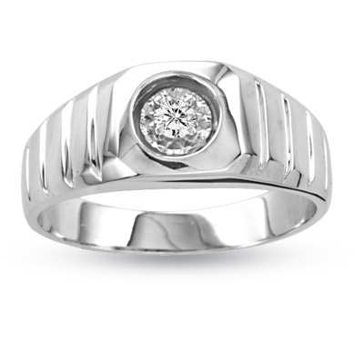 View 14k Gold Men's Ring with 0.10ct tw. Round Diamonds