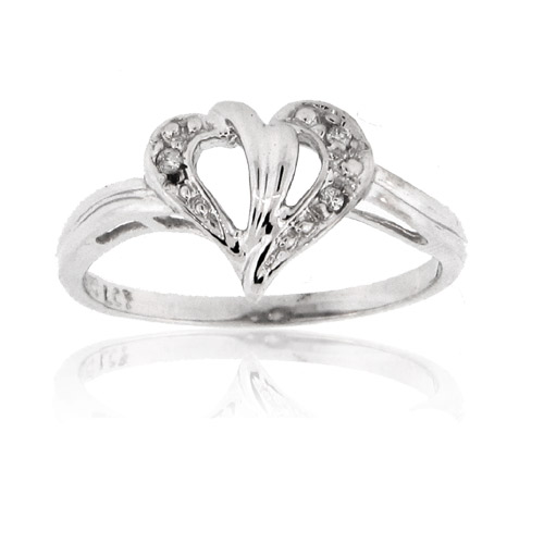 View 14k Gold Heart Ring with 0.02cttw Diamonds