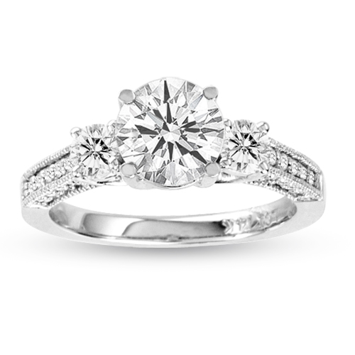 View 1.50cttw Diamond Engagement Ring 3 Stone Lucida Antique Look 14K White Gold H-J SI-I1 Quality 0.90ct Round Diamond in Center