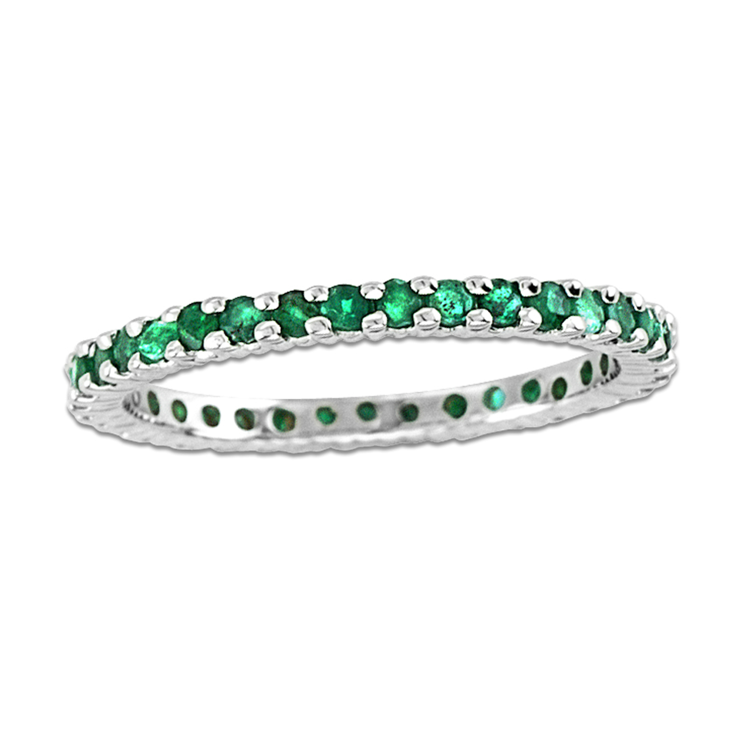 View 14k Gold All Around Eternity Band with 0.75ct tw of Emerald