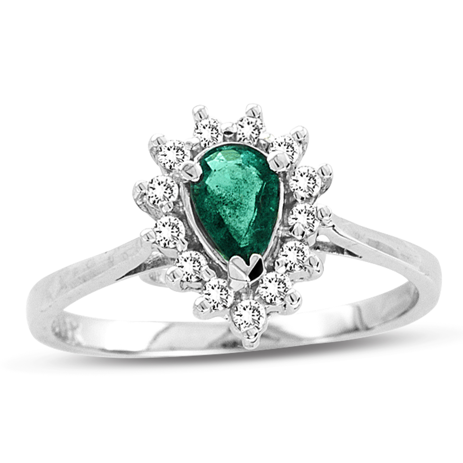 View 0.53ct tw Pear Shaped Emerald and Diamond Ring in 14k Gold