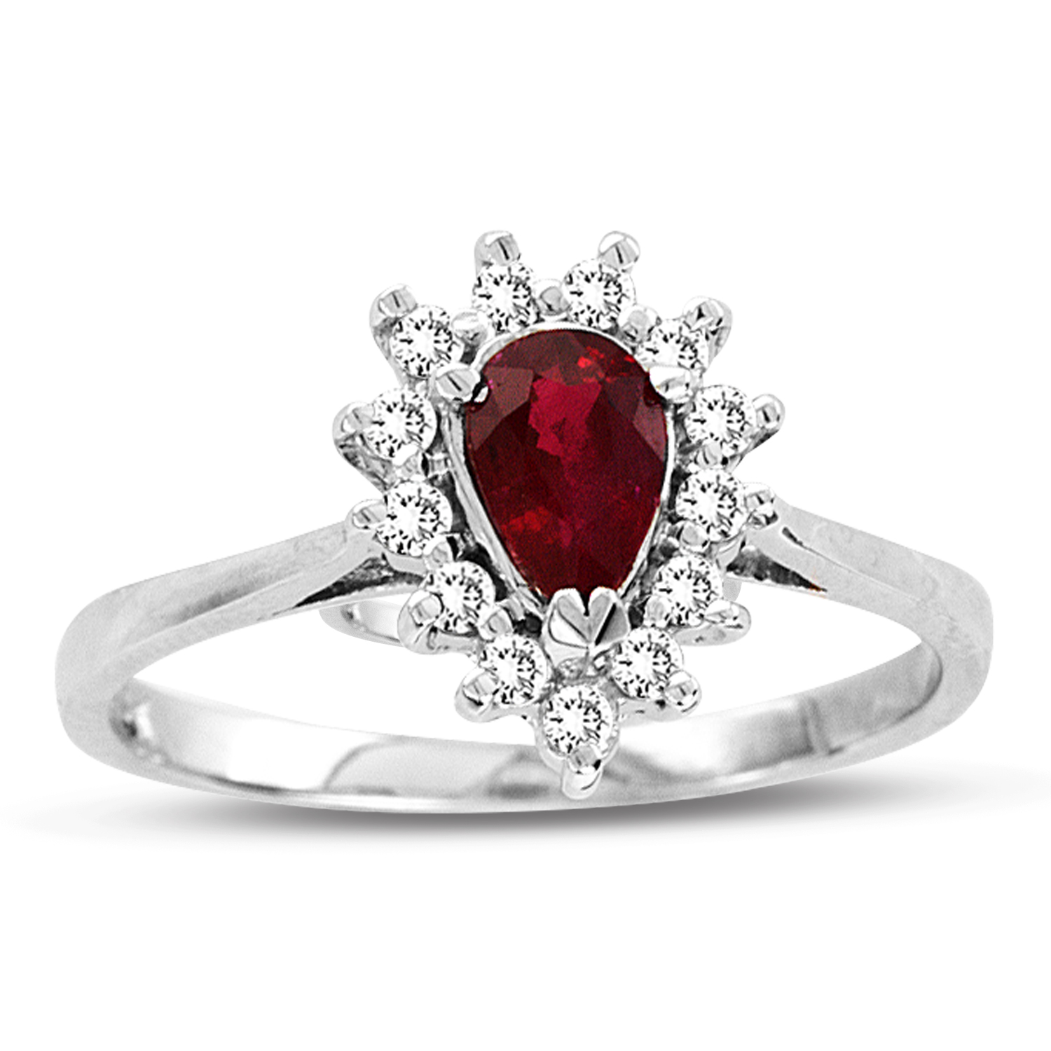 0.65ct tw Pear Shaped Natural Heated Ruby and Diamond Ring in 14k Gold