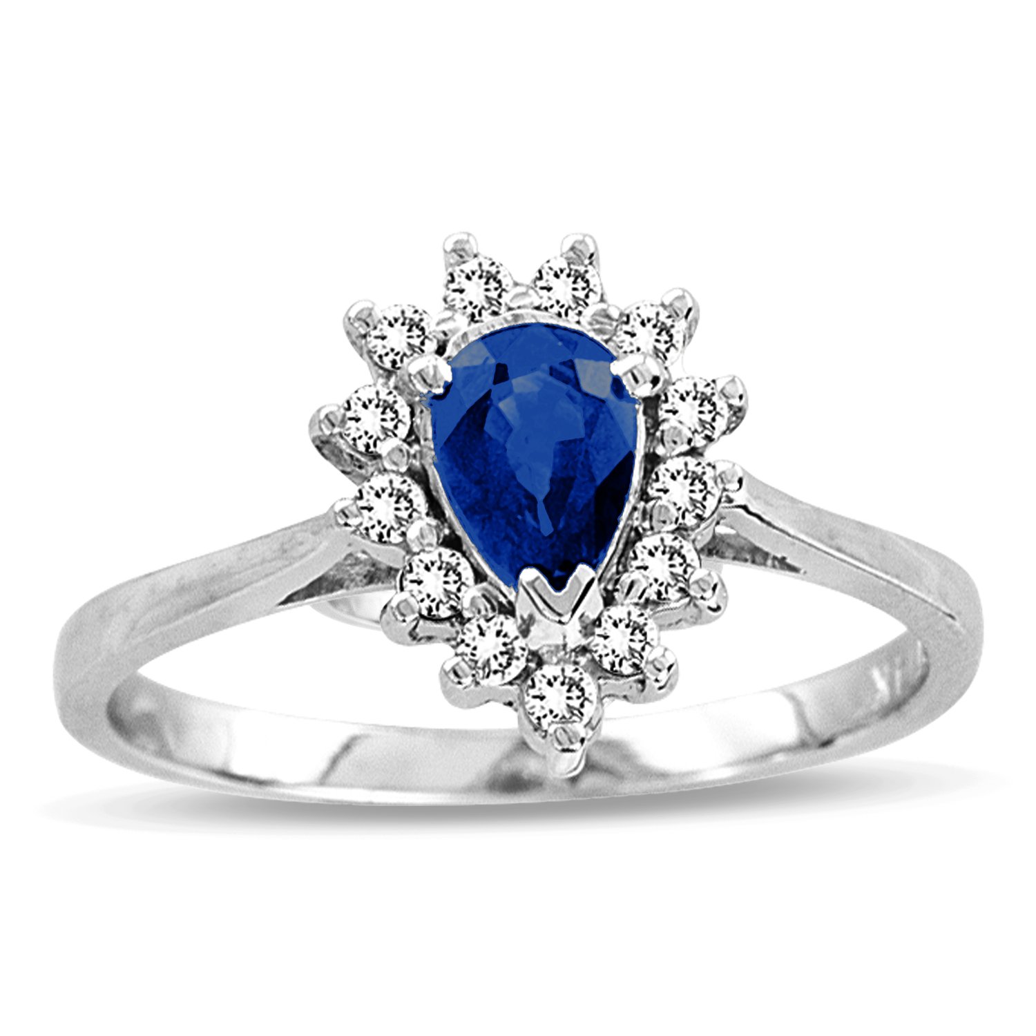 0.69ct tw Pear Shaped Sapphire and Diamond Ring in 14k Gold