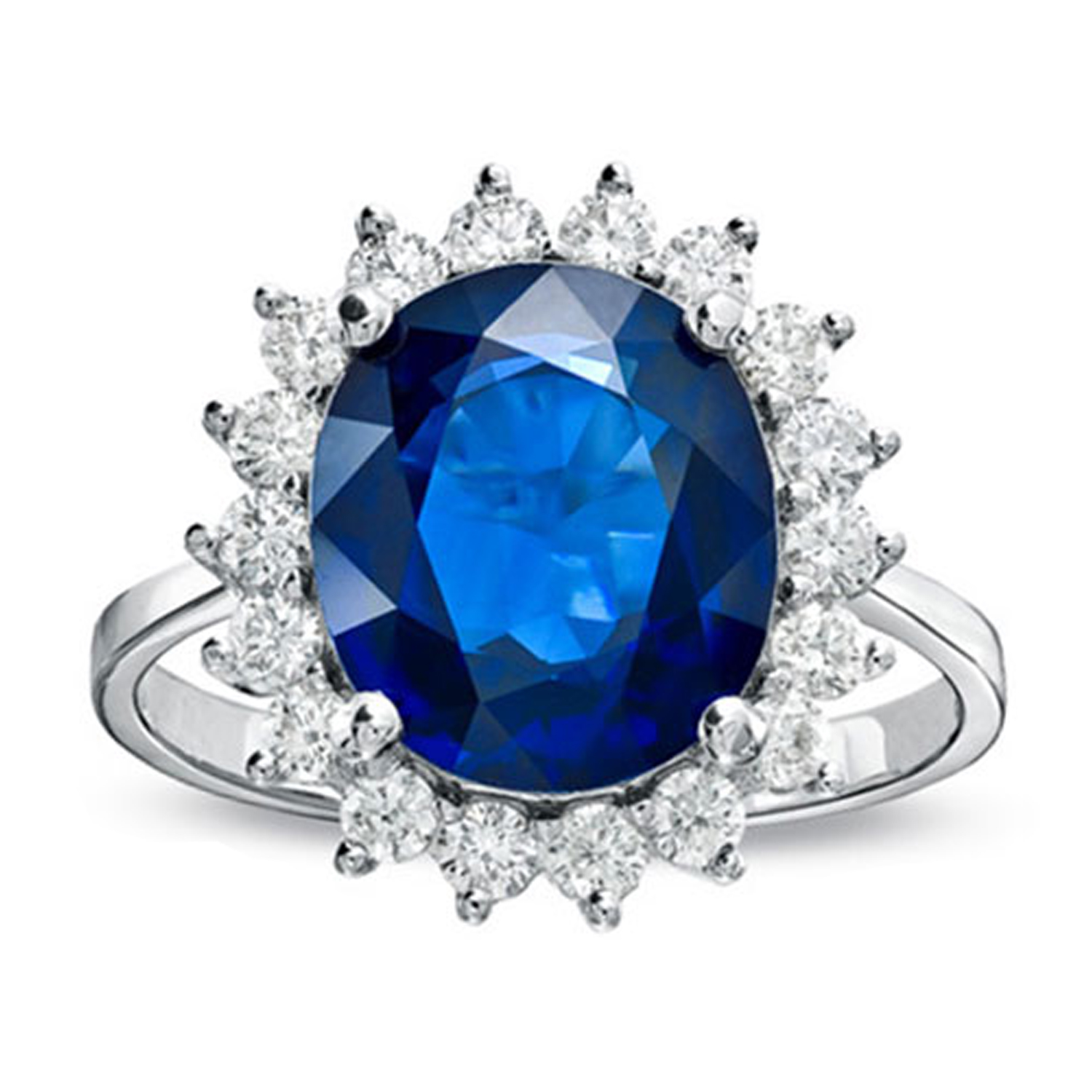 View 6.28ct tw 12X10mm 5.53 Carat Oval Sapphire and Diamond Ring in 14k Gold Royal Collection