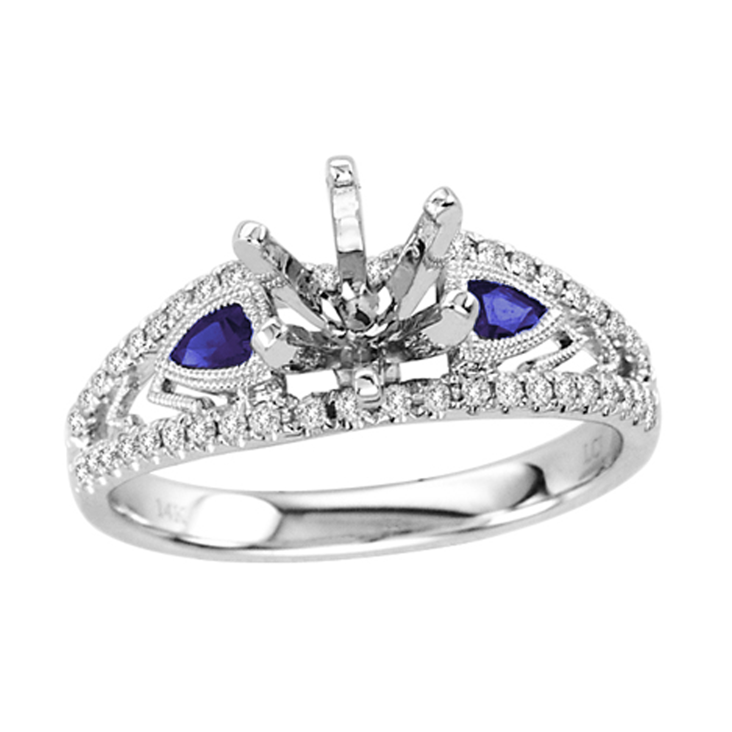 View 0.43cttw Sapphire and Diamond Semi Mount Engagement Ring set in 14k Gold