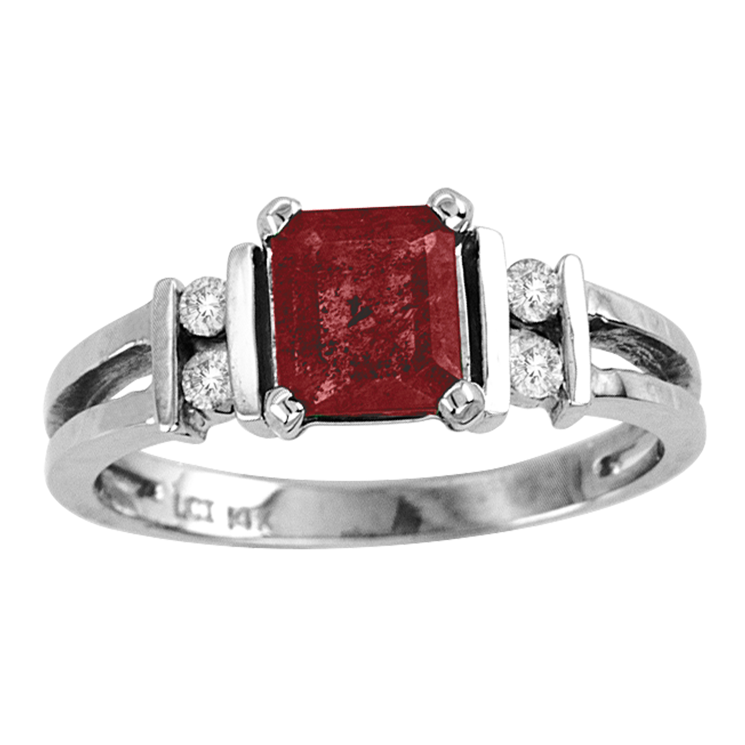 View 1.10cttw Diamond and Natural Heated Ruby Ring set in 14k Gold