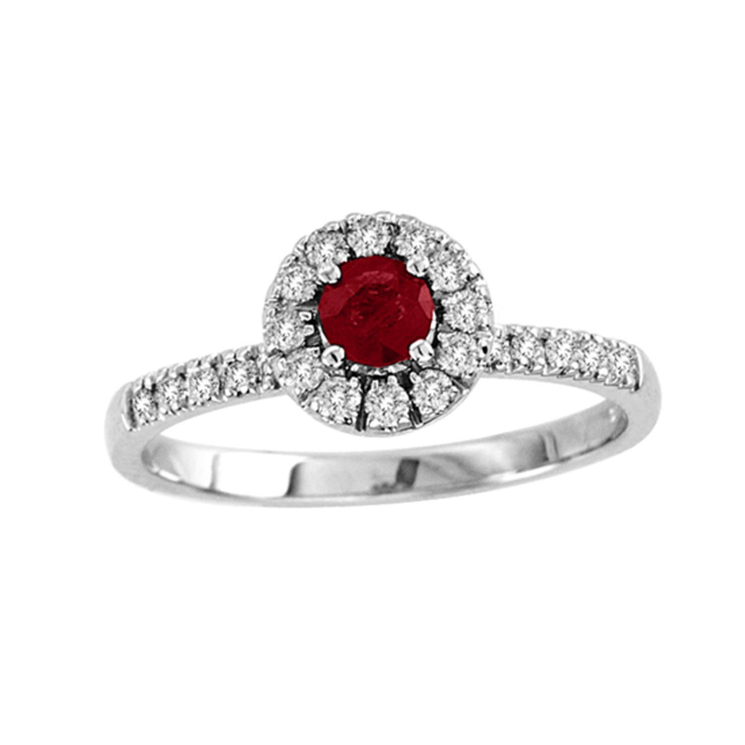 0.65cttw Natural Heated  Ruby and Diamond Halo Ring set in 14k Gold