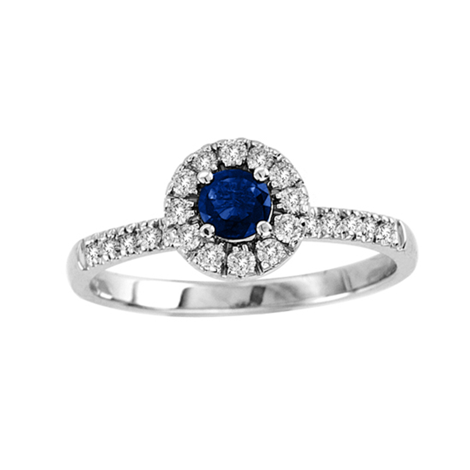 0.60cttw Sapphire and Diamond Halo Ring set in 14k Gold