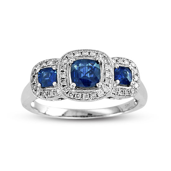 1.05cttw Sapphire and Diamond Fashion Ring set in 14k Gold 3 Stone Cushion Cut Sapphires