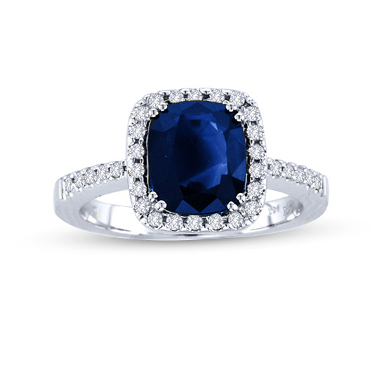 View 2.87cttw Diamond and Sapphire ring in 14k Gold