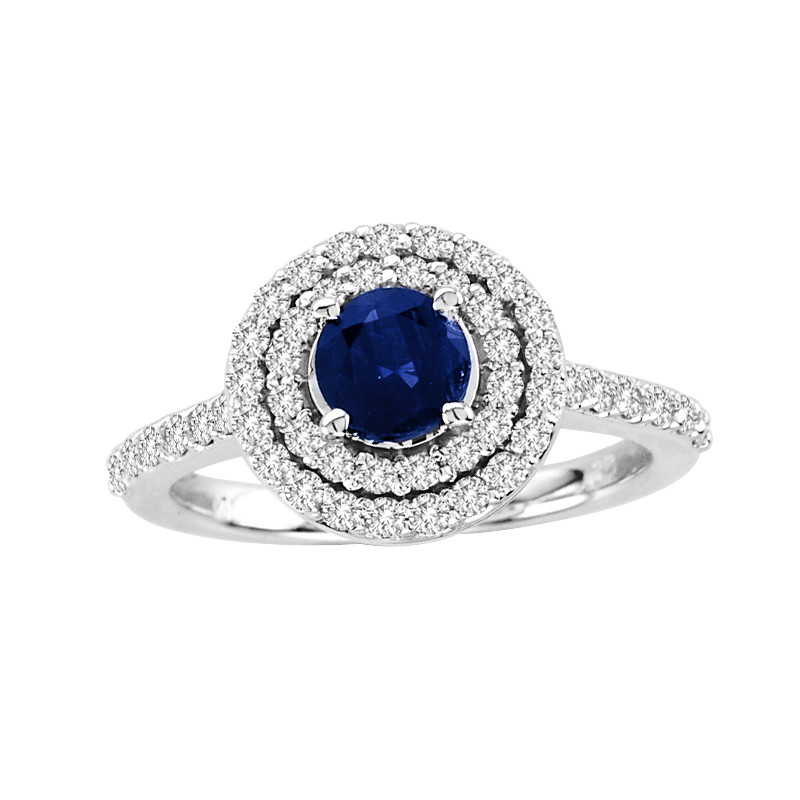 View 1.25cttw Diamond and Sapphire Engagement Ring in 14k Gold 5mm Round Sapphire