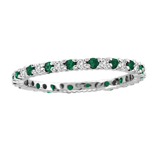 0.55cttw Emerald and Diamond Eternity Band in 14k Gold