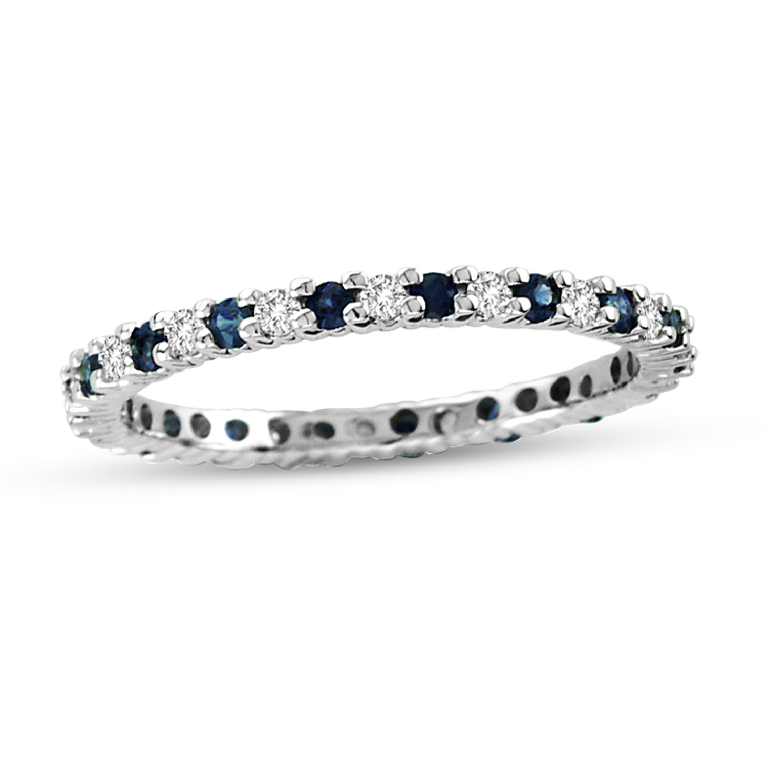 View 0.55cttw Sapphire and Diamond Eternity Ring in 14k Gold