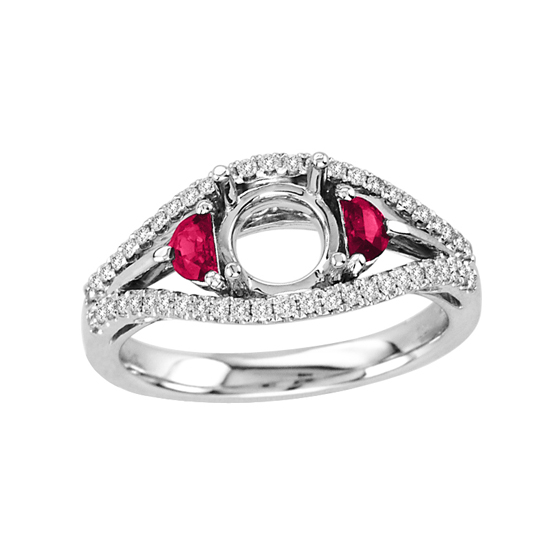 View 0.54cttw Diamond and Ruby Semi Mount Ring in 14k White Gold (Holds a 1.00ct Round Center