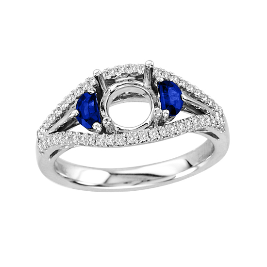 0.69 Diamond and Sapphire Semi Mount Ring in 14k White Gold (Holds a 1.00ct Round Center