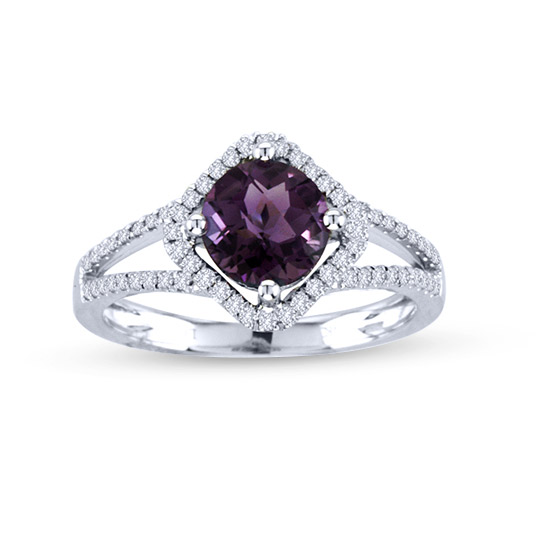 View 1.42cttw Diamond and Amethyst Dashion Ring in 14k White Gold