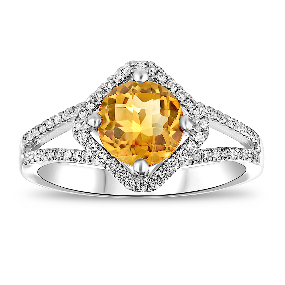 View 0.25ctw Diamond and Citrine Fashion Ring in 14k WG