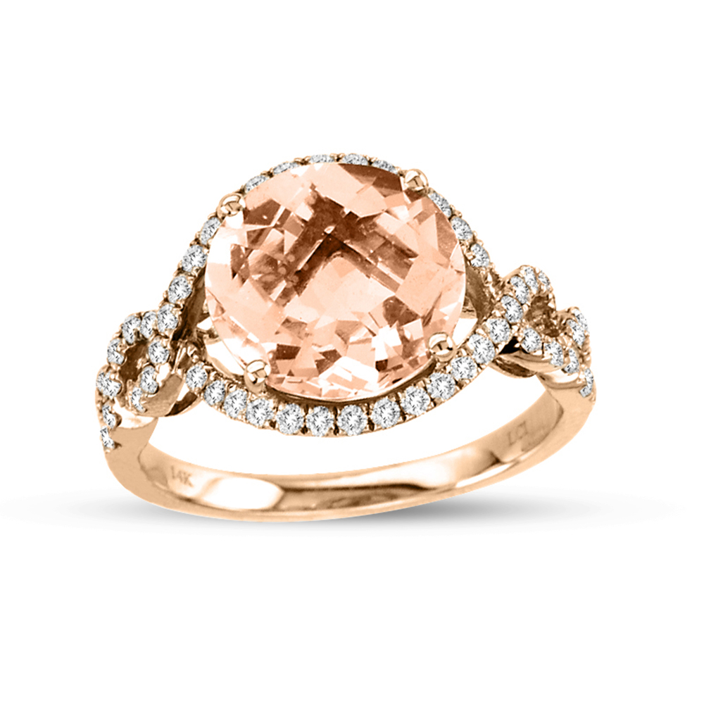 View 3.79cttw Diamond and Morganite Fashion Ring in 14k Rose Gold