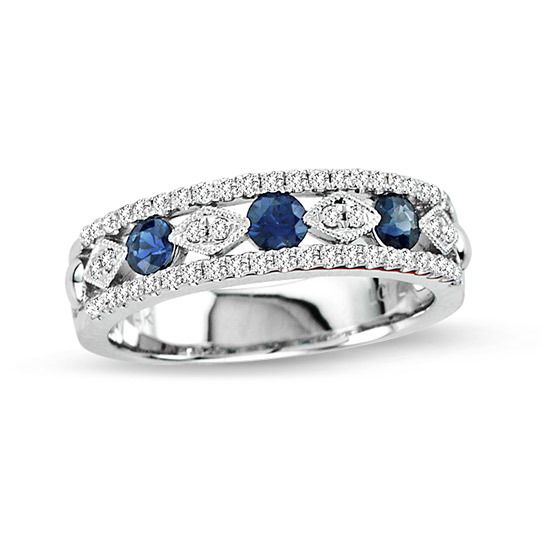 View 0.69cttw Diamond and Sapphire fashion Wedding Band in 14k White Gold