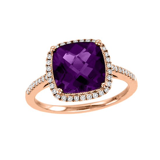 View 2.84cttw Diamond and Amethyst Fashion Ring in 14lk Rose Gold