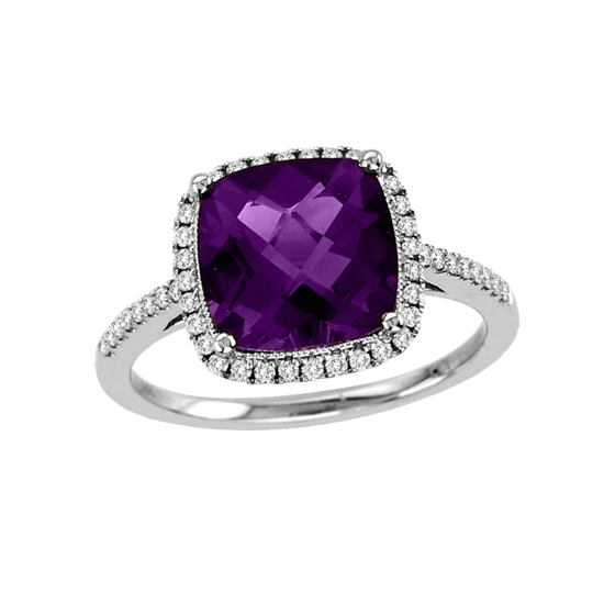 View 2.84cttw Diamond and Amethyst Fashion Ring in 14k White Gold