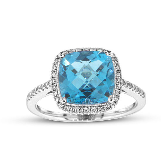 View 3.59cttw Diamond and Blue Topaz Fashion Ring in 14k White Gold