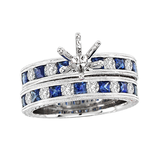 View 1.64cttw Sapphire and Diamond Semi Mount and Wedding Band Set in 14k White Gold