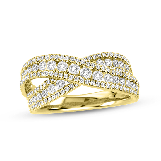 View 1.48 ct tw Diamond Crossover Fashion Band in 18k Yellow Gold