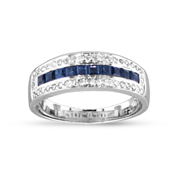 View 1.00cttw Diamond and Sapphire Band in 14k White Gold