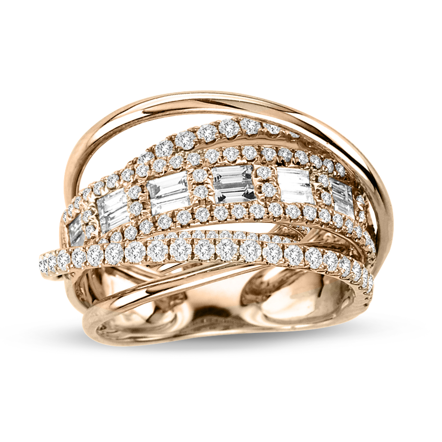 View 1.06cttw Diamond Fashion Ring in 18k Two Tone Rose and White Gold