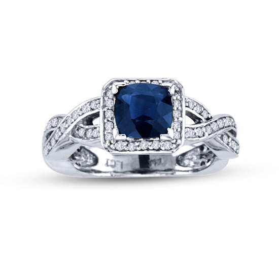 View 1.49cttw Diamond and Antique cut cushion Sapphire in 14k Gold
